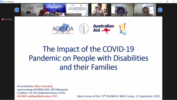 a screenshot of a computer with Zoom meeting displaying a slide presentation titled the Impact of COVID-19 Pandemic on People with Disabilities and their Families