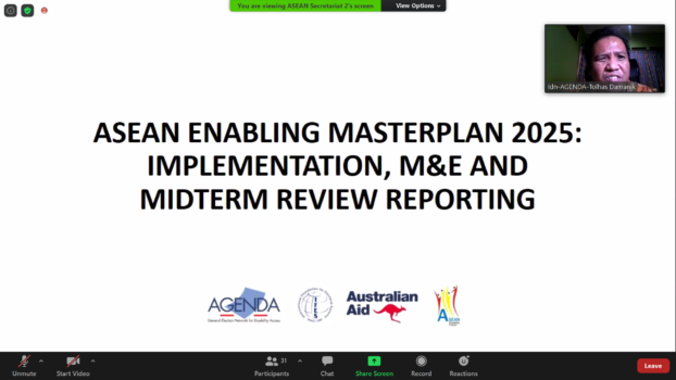 a screenshot of a computer with ZOOM Meeting displaying a slide presentation titled ASEAN Enabling Masterplan 2025: Implementation, M&E, and Mid-Term Review Reporting
