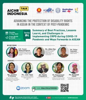 [REGISTER NOW]  Fourth Webinar on Summary of Best Practices, Lesson Learnt, Challenges in Implementing CRPD during COVID-19 Pandemic and Ways Forwards in ASEAN