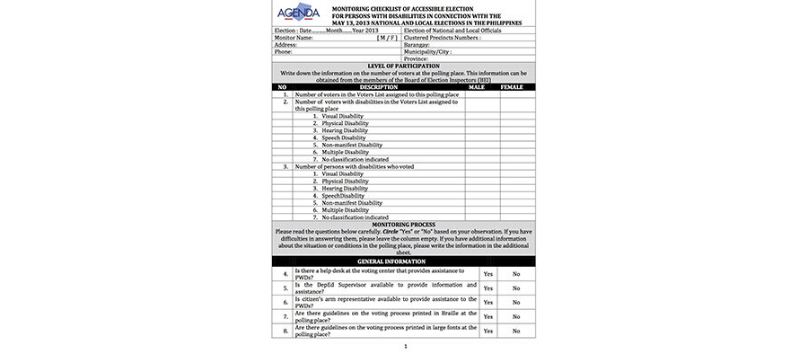 AGENDA Checklist for Accessible Election (English for the Philippines)
