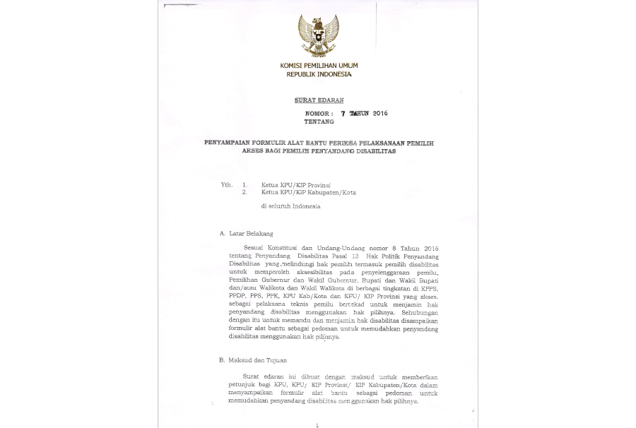 KPU Letter on implementation of EMB Assessment Tool, Jakarta, 2016-06-30